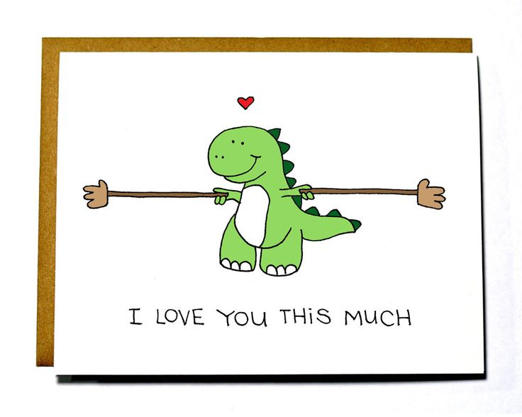 Cute Dinosaur card T-rex I love you this by DarkroomandDearly