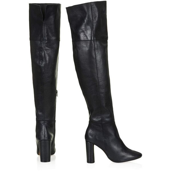 TOPSHOP COLLIDE Leather Over Knee Boots ($120) ❤ liked on
