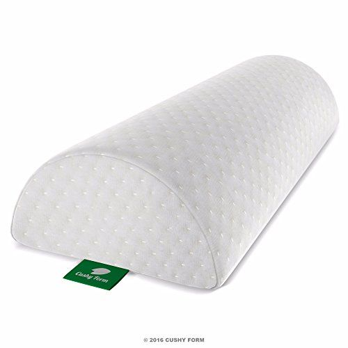 back pain relief halfmoon bolster wedge by cushy form provides best support for sleeping on side or back memory foam semiroll pillow with washable