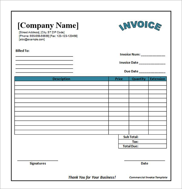 20 best Invoice Template images on Pinterest Invoice template - commercial invoice template excel