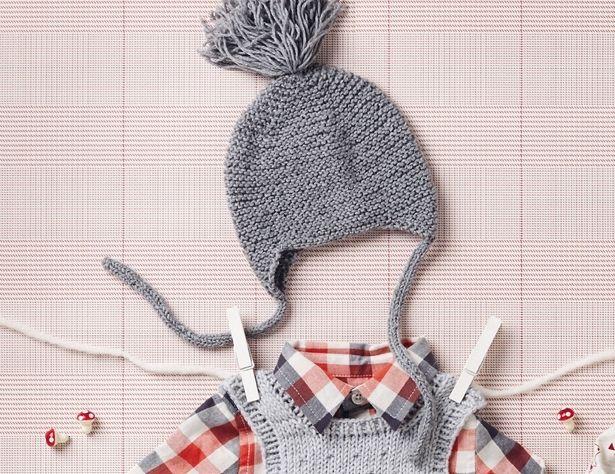 Описание вязания на спицах детской шапочки с помпоном из журнала «Burda. Вязание» №8/2016