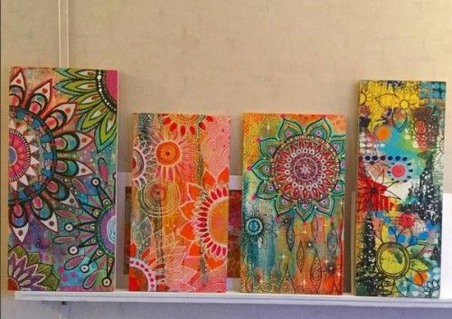 Golden Acrylics and Sharpie Paint Pens on wood panels