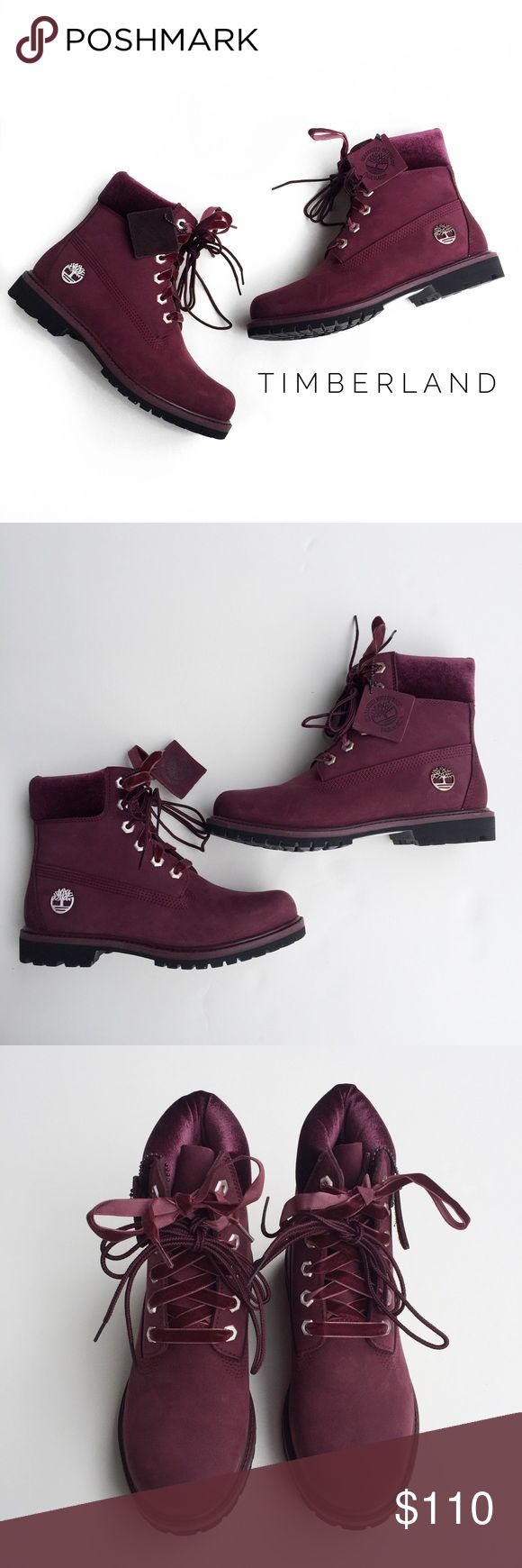 • timberland boots • these are brand new in excellent condition with no signs of wear. these have never been worn. box is not included. there are two sets of laces that will come with these.   these were bought at a sample sale.   the coloring is maroon/burgundy and the ankle part is velvet.   these are the 6inch premium boot. please reference to the timberland website for help with sizing. from my experience timberlands generally run big so most of the time it's recommended to go at least a…