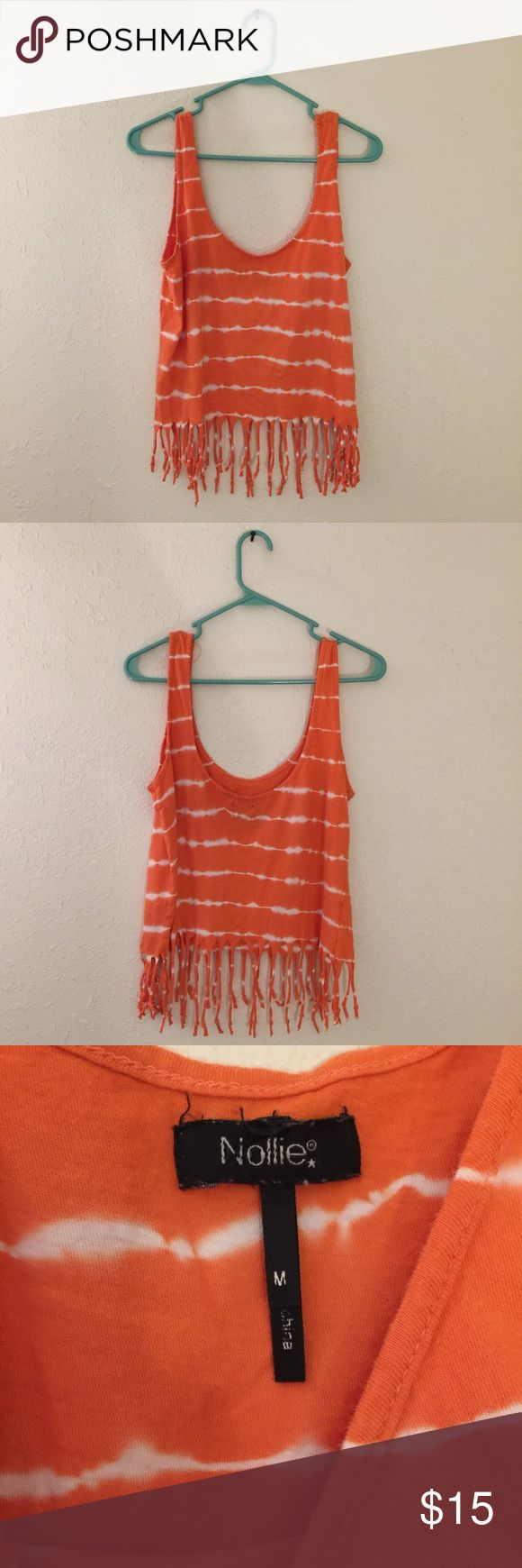 NOLLIE Fringe Orange Tie Dye Crop Top NOLLIE  Orange with white tie dye, knotted fringes on bottom. Looks new- only worn to a festival once. Medium Size. Tops Crop Tops