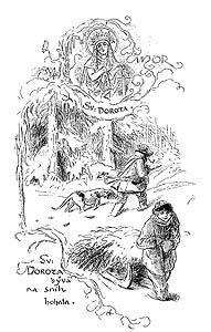 Svatá Dorota, kresba Mikoláše Alše