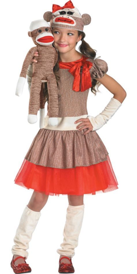 Deluxe Sock Monkey Costume for Girls - Party City $35.  Dress, Petticoat, Tail, Cap, Glove Guantlets, Leg warmers.  Not included:  red shoes, sock monkey itself :(