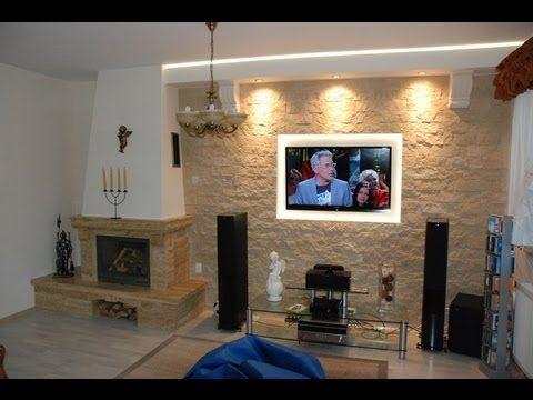 Ściana TV w kamieniu ozdobnym, dekoracyjnym - TV Wand in the stone wall decorative ornamental - YouTube