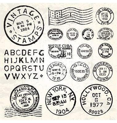 Vintage stamp set vector on VectorStock&reg