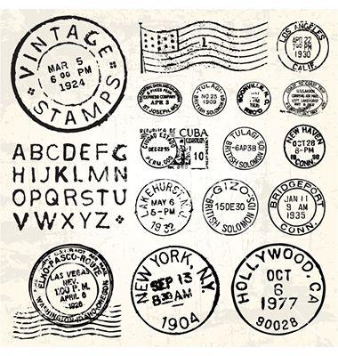 Vintage stamp set vector on VectorStock&reg