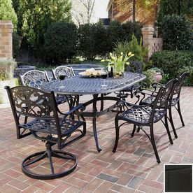 Home Styles Biscayne Black Cast Aluminum Patio Dining Set Seats Rust Bronze