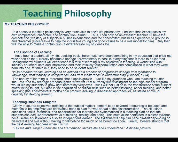My phlosophy on education