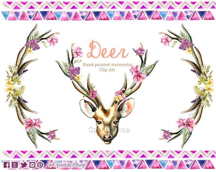 Venado png ciervo clip art cuernos shabby chic acuarela clip art venado cola blanca cuernos florales acuarela clip art boda tematica clipart by CpandoShop on Etsy