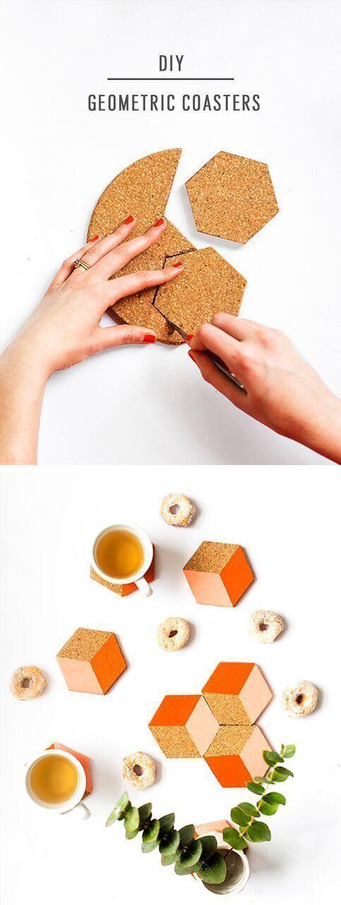 Diese geometrischen Untersetzer zum Selbermachen können einzeln verwendet oder zu einem …  – DIY – Do it!