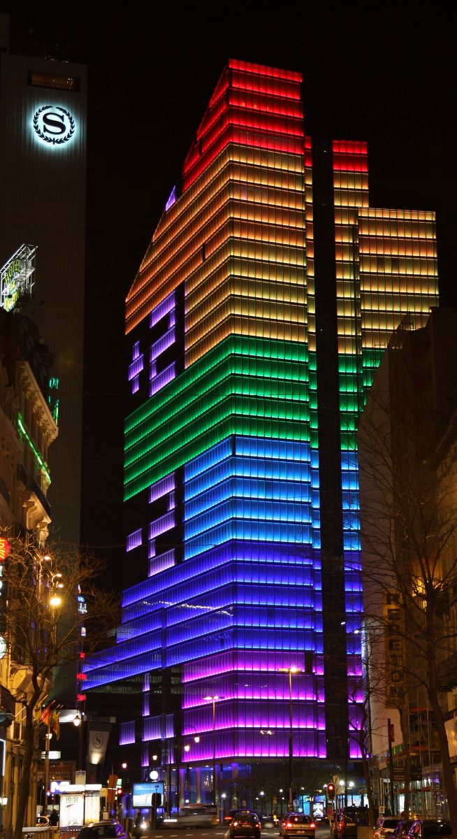 Photo Neon Exterior High Rise Bldg Colour Architecture