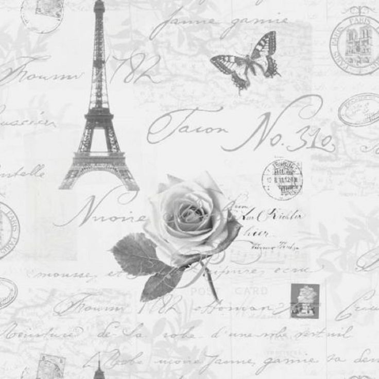 Holden Decor WallpaperCalligraphy Paris/Stamps/ Eiffel