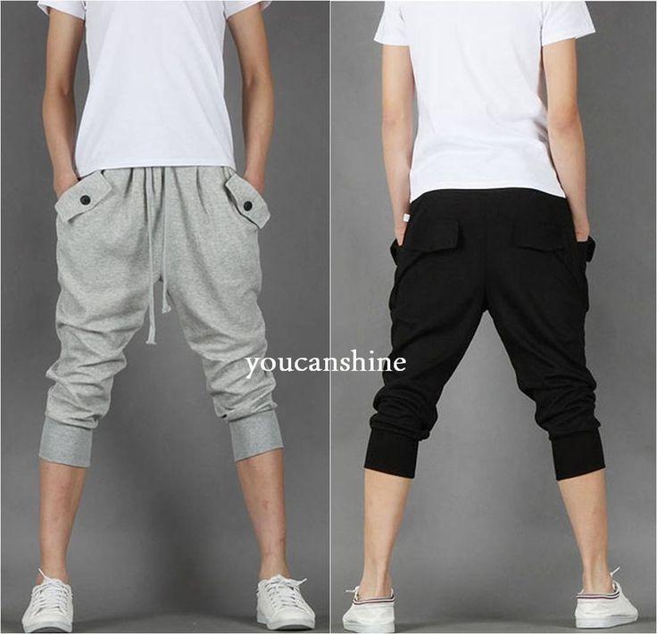 Men's Capri Jogger Sports Shorts Baggy Harem Cropped Pants Hip Hop Rope Trousers | Clothing, Shoes & Accessories, Men's Clothing, Shorts | eBay!