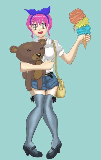 Tiago Melo(Desenhista): Teedy Bear Girl Manga Vetor