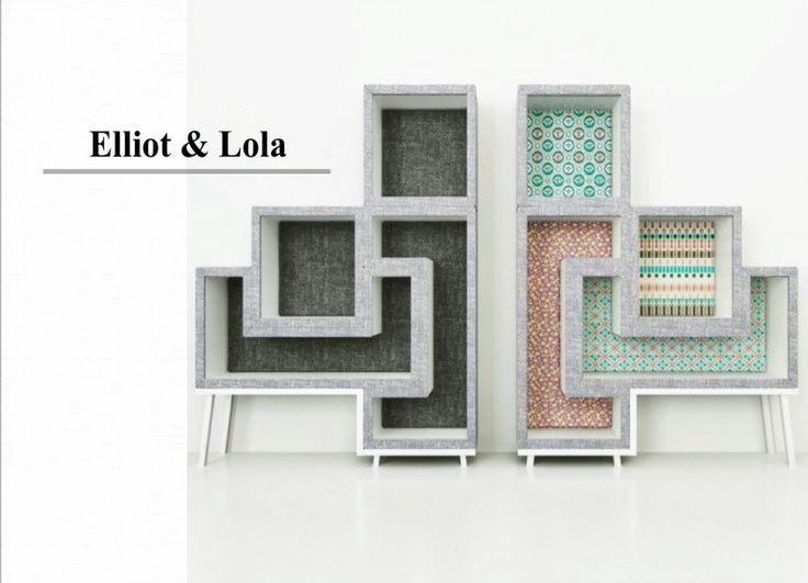 Elliot & Lola sono complementi d'arredo -libreria- portaoggetti, sedute all' occorrenza,  3 elementi che si incastrano morbidamente costituite da una struttura di legno unite a un foglio di gommapiuma e  rivestite in tessuto