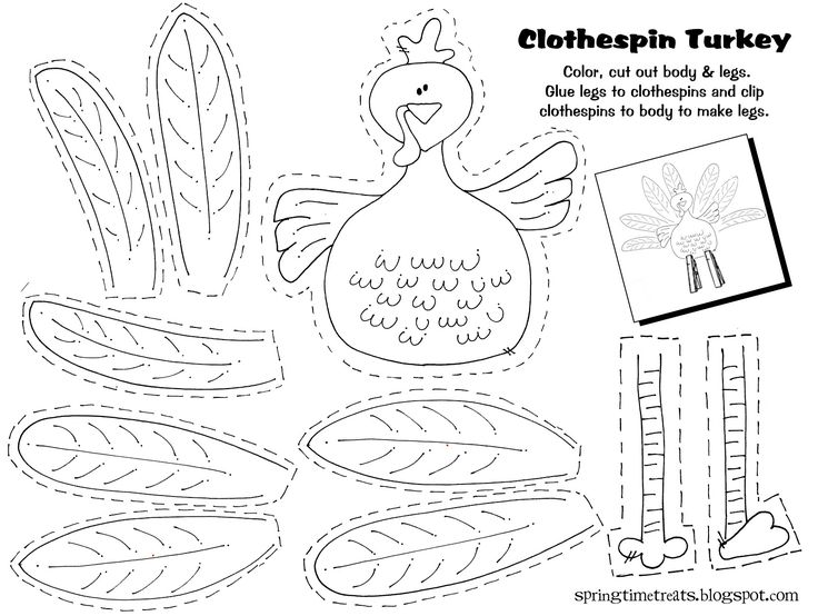 Free printable - Clothespin Turkey. Easy craft idea for the kids after thanksgiving dinner.