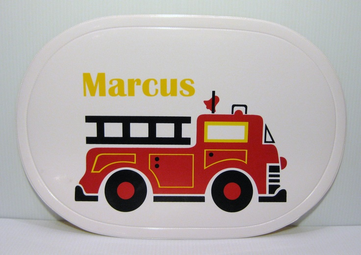 """~ Sample of Finished Firetruck ~ Vinyl placemat that you personalize. Size 17""""x11.5"""", available for purchase for just $10."""