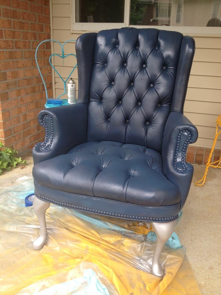 Diy Painted Faux Leather Pleather Vinyl Armchair