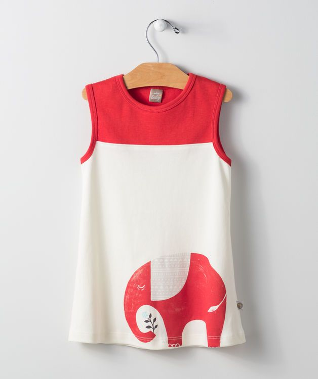 This illustrated elephant conjures the spirit of the safari, bringing adventure wherever it goes! This pull over sun dress is one of our most popular dress designs for the new year and goes with any brightly colored pattern leggings or knit pants for a wonderful play date outfit she'll want to wear again and again.