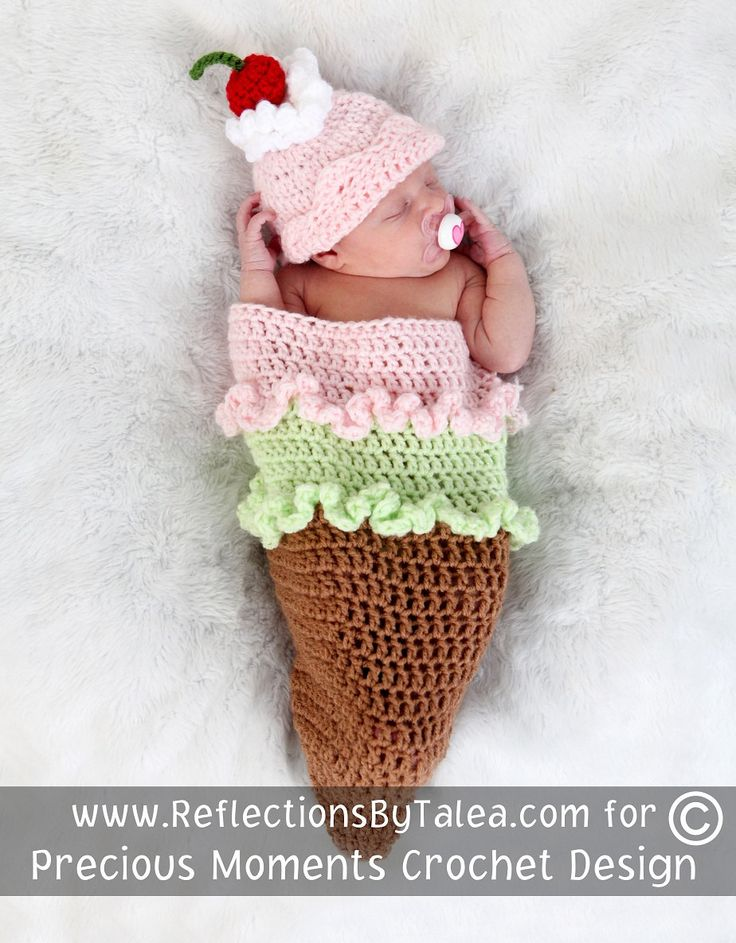 ICE CREAM CONE Cocoon and Beanie Hat Set, Baby Girl Cocoon, Newborn Cocoon,  Crochet Newborn Baby Photo Prop. $47.00, via Etsy.