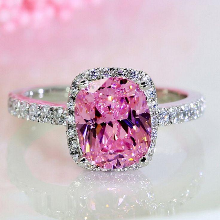 Victoria Wieck Fidanzamento Band 3ct Zaffiro Rosa Diamante simulato 925 Sterling Silver Donne Anello d'oro di Nozze Size5-11 Regalo