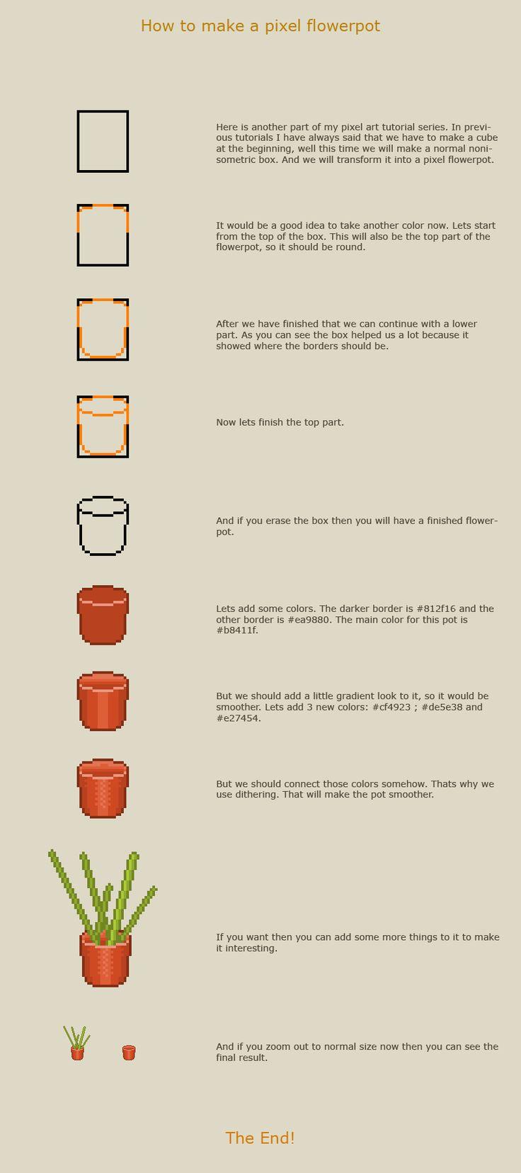 How To Draw A Pixel Art Flowerpot By `vanmall On Deviantart, Drawing Pixel  Art