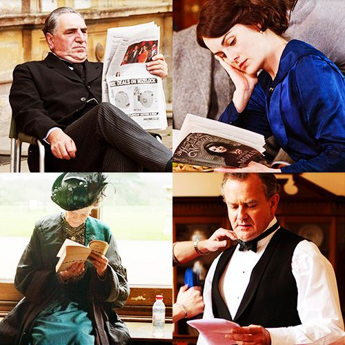 Jim Carter (Mr. Carson), Michelle Dockery (Lady Mary), Maggie Smith (Violet, Dowager Countess of Grantham), and Hugh Bonneville (Robert, Earl of Grantham) - behind the scenes reading!