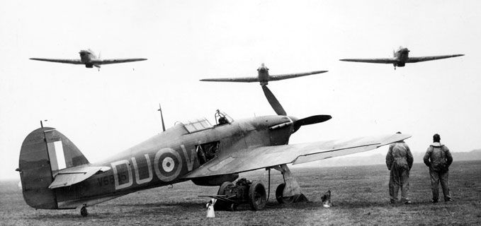Hurricanes of 312 (Czech) Squadron coming in to land.