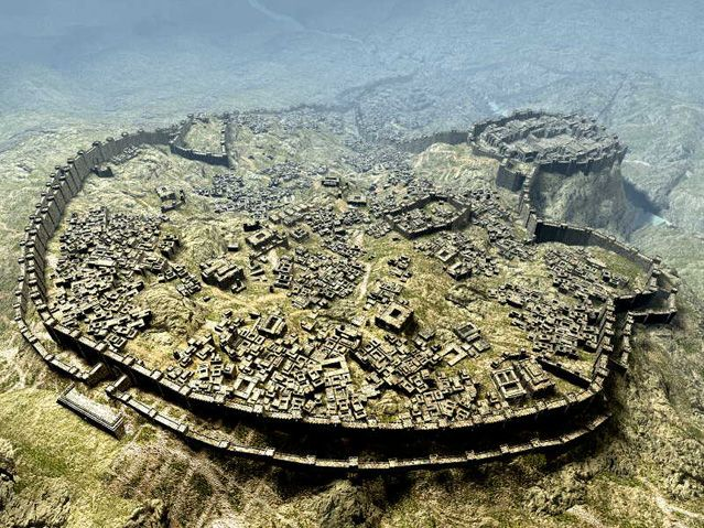 "Hattusa, Hittite Empire, circa 1300 BC. In keeping with the militaristic ethos of the Hittites, their capital city was magnificently fortified. Already situated on advantageous terrain, it was surrounded by double walls presaging the triple walls of Constantinople. On the ridge in the upper right is the ""Acropolis"" which was the royal district of the city which contained the palace. The city was destroyed in 1200 BC during the great Bronze Age Collapse."