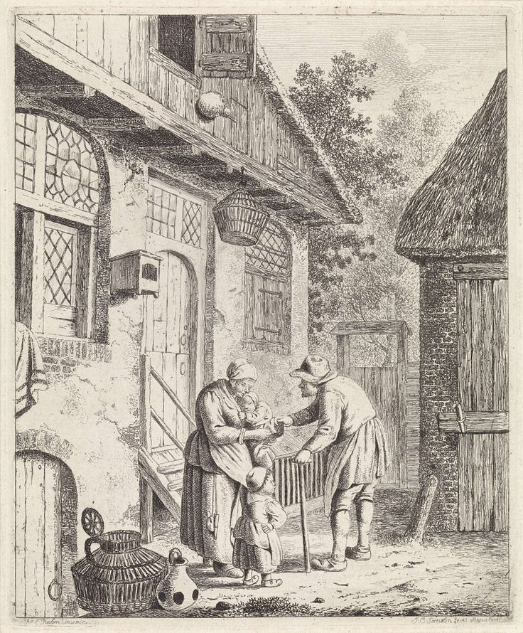 Johannes Christiaan Janson | Binnenplaats met boeren, Johannes Christiaan Janson, 1778 - 1823 | Binnenplaats met een vrouw en twee kinderen voor een huis. De vrouw houdt het jongste kind op haar arm. Voor hen een man, op een stok leunend. Links op de voorgrond een mand en kan. Mét bomen op de achtergrond. Meer bewerkt dan vorige staat.