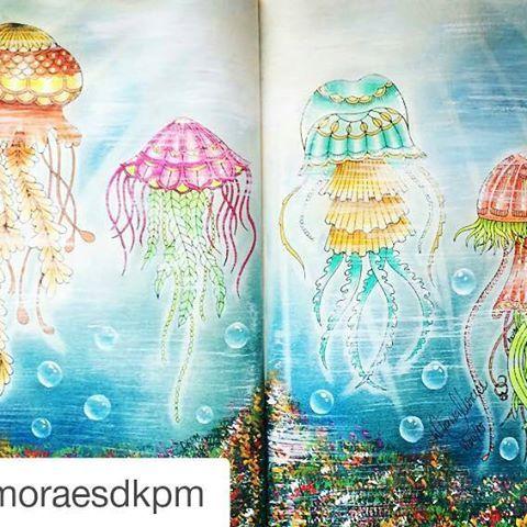 Maravilhosa essa pintura by @dianamoraesdkpm ・・・#lostocean #oceanoperdido #desenhoscolorir  #johannabasford O passo a passo está no meu grupo de pintura no facebook: Floresta Encantada, Jardim Secreto e cia, um arco-íris de alegria.   #lostoceancolors #livrodecolorir