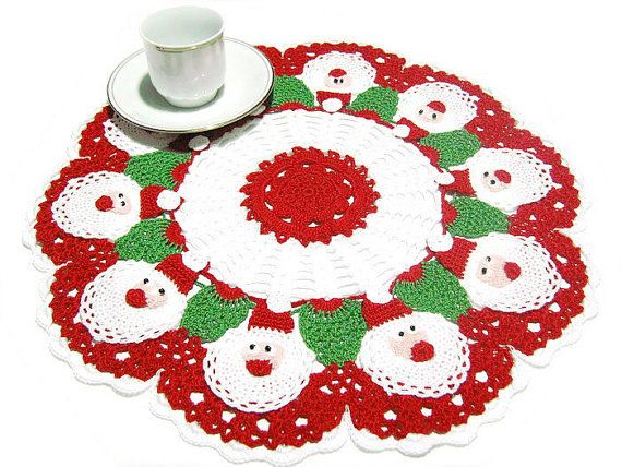 Christmas Crochet Doily with Santa Claus by CreArtebyPatty on Etsy