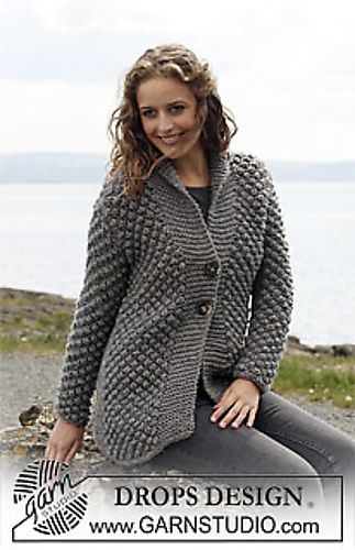 """Ravelry: 110-29 Jacket in """"Eskimo"""" with berry pattern pattern by DROPS design FREE PATTERN"""