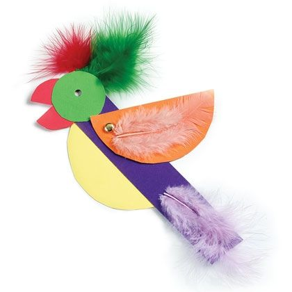 Squawking Parrot - craft feathers, coloured card, paper fasteners