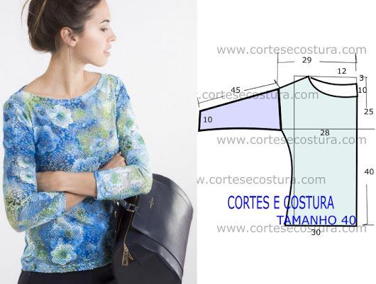 Molde de blusa básica com passo a passo de corte e costura