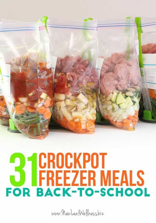 31 Crockpot Freezer Meals for Back-to-School. Lots of great recipes, including meals for special diets, healthy recipes and kid-friendly meals. Simply combine the ingredients in a gallon-sized bag and freeze.