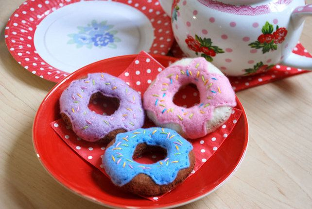 Felt Doughnuts set of 3 play food for children £6.00