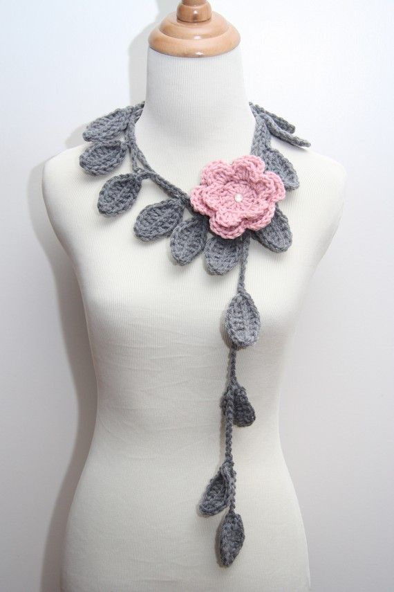 crochet leaf scarf. Check out her flower scarves, too.