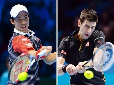 ATPツアー・ファイナル準決勝で対戦する錦織圭(写真左)とジョコビッチ(AFP=時事) ▼15Nov2014時事通信|早めに仕掛けたい錦織=ジョコビッチに挑む-ATPファイナル http://www.jiji.com/jc/zc?k=201411/2014111500107