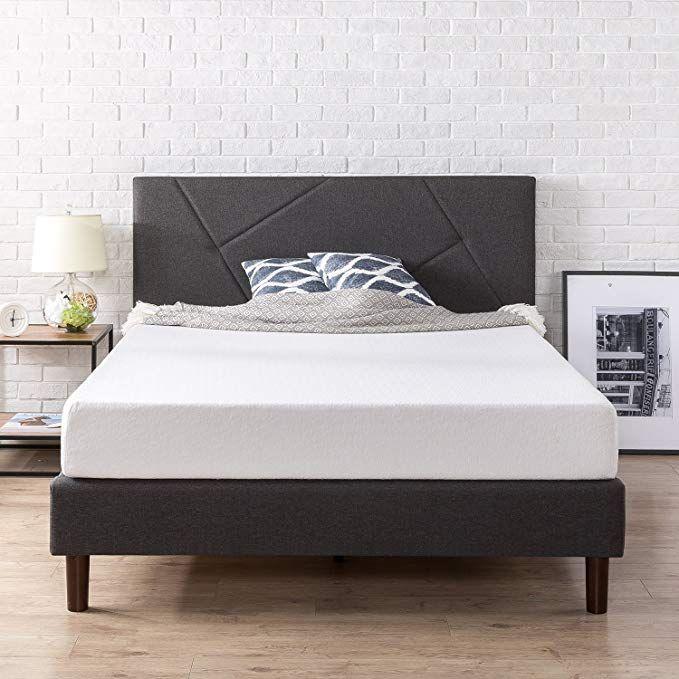 Amazon Com Zinus Upholstered Geometric Paneled Platform Bed