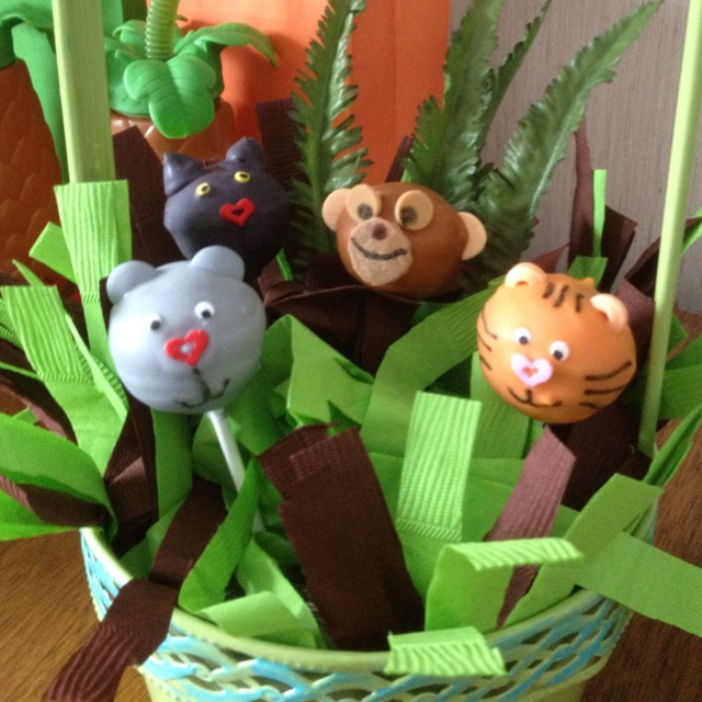 Cake pops I made for my nephew's jungle book themed 1st birthday party