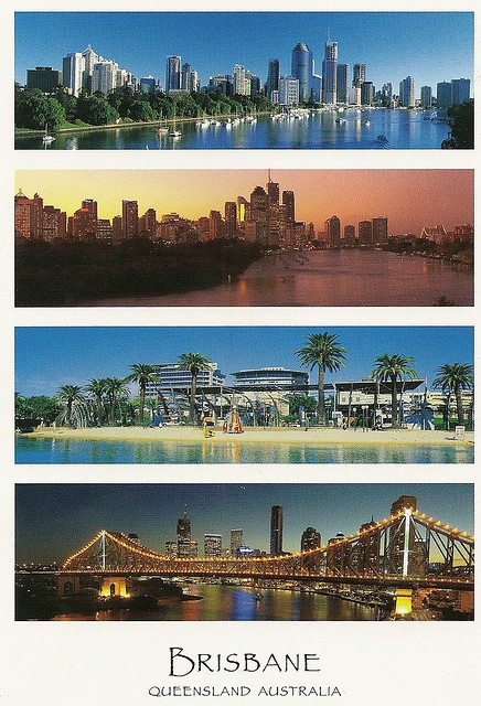 Australia , Brisbane. This is the capital of Queensland and located in the south east part of the state.  Brisbane river , Brisbane city at dusk , South park and Story Bridge.    Postcard Peter Link Publishing Seq.    Postcrossing AU-22745 , thank you Dor