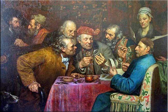 """""""Les numismates"""" (anonyme).-  Nicolas Fouquet surintendant des Finances: il met l'accent sur les """"affaires extraordinaires"""": création et vente de charges, création de droits nouveaux, émission de rentes et prêts, le tout dans des conditions très avantageuses pour les traitants. Au contraire des manipulations monétaires passées, il propose en 1653 une réévaluation de la livre tournois: la pistole d'or passe de 12 à 10 livres. Le crédit se fait plus abondant et la situation s'améliore"""