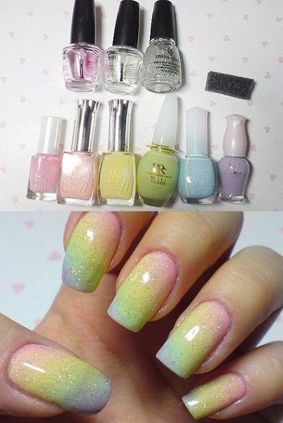 Pastel rainbow nails.