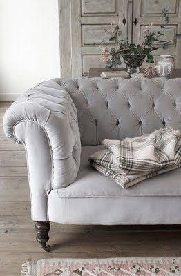 ♅ Dove Grey Home Decor ♅ grey velvet tufted sofa