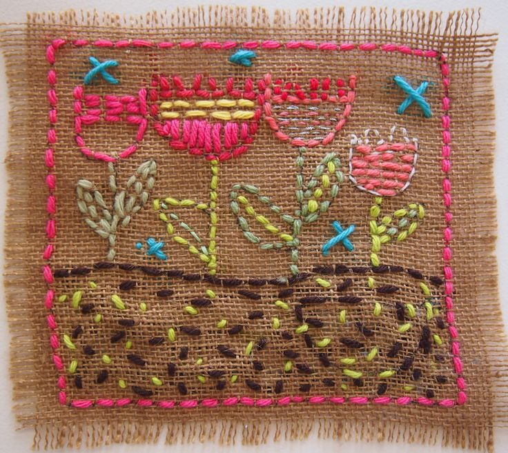 "Drawing with String and Wool. Children can create a colorful tapestry using their own design on burlap. Have children draw out their design on the burlap fabric and with a simple running stitch ""up and down"" go over the design. First step is stitching the border around the burlap. Colorful wools, strings and embroidery floss make the choices fun and add to the creativity!"