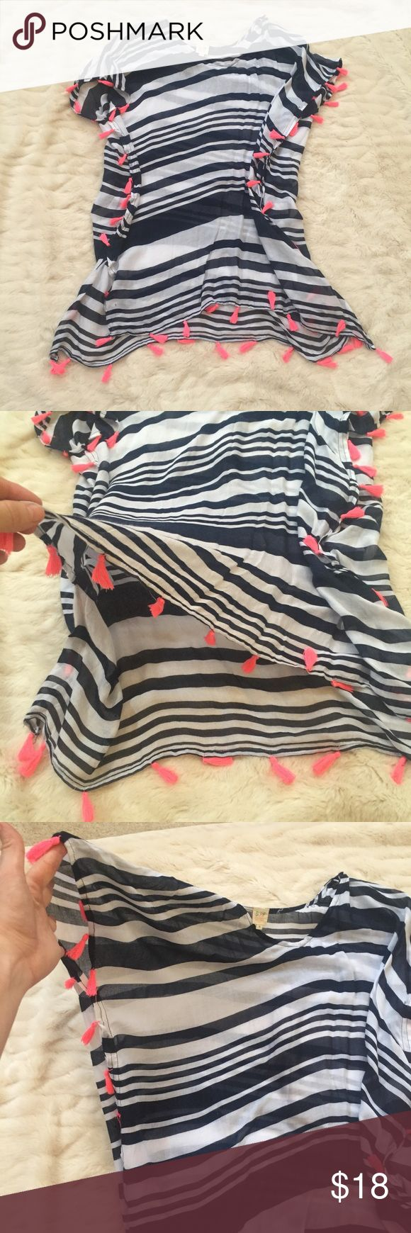 Navy, white and coral tunic/bathing suit cover up Navy and white stripes with coral fringe detailing. Can be worn as a tunic or bathing suit cover up. Adorable and perfect for spring/summer! Medium. Never worn, without tags. Surf Gypsy Tops